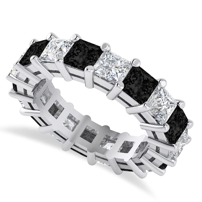 Princess Black & White Diamond Wedding Band 14k White Gold (5.58ct)