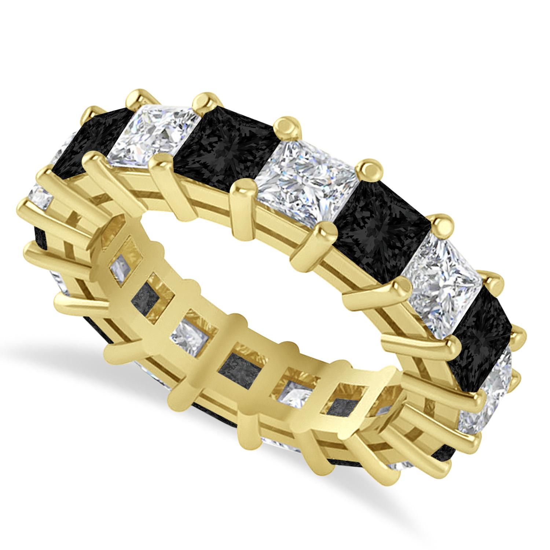 Princess Black & White Diamond Wedding Band 14k Yellow Gold (5.58ct)