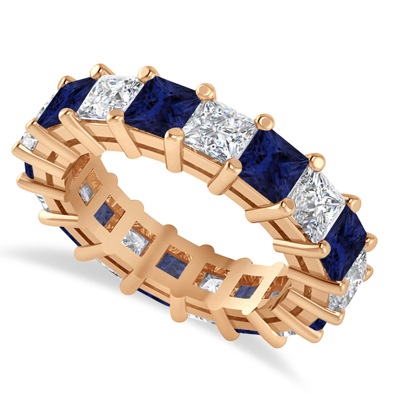 Princess Diamond & Blue Sapphire Wedding Band 14k Rose Gold (5.94ct)