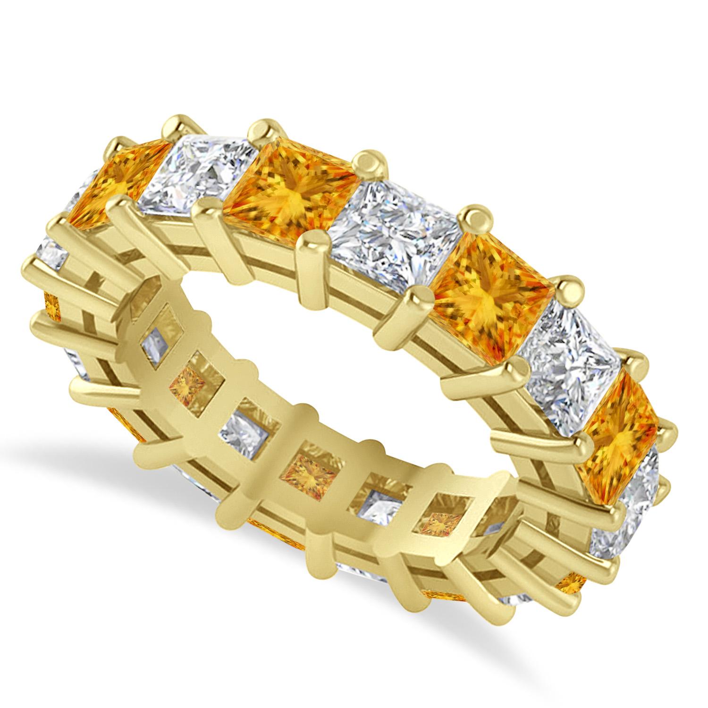 Princess Diamond & Citrine Wedding Band 14k Yellow Gold (5.94ct)
