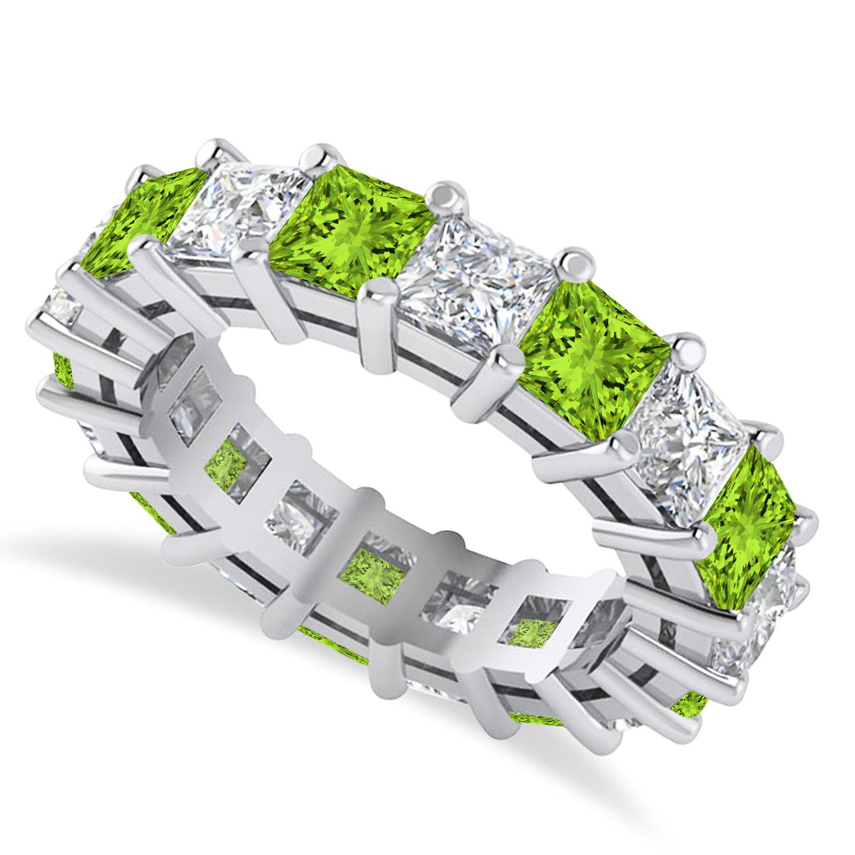 Princess Diamond & Peridot Wedding Band 14k White Gold (5.94ct)