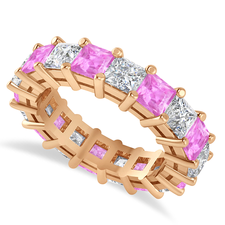 Princess Diamond & Pink Sapphire Wedding Band 14k Rose Gold (5.94ct)