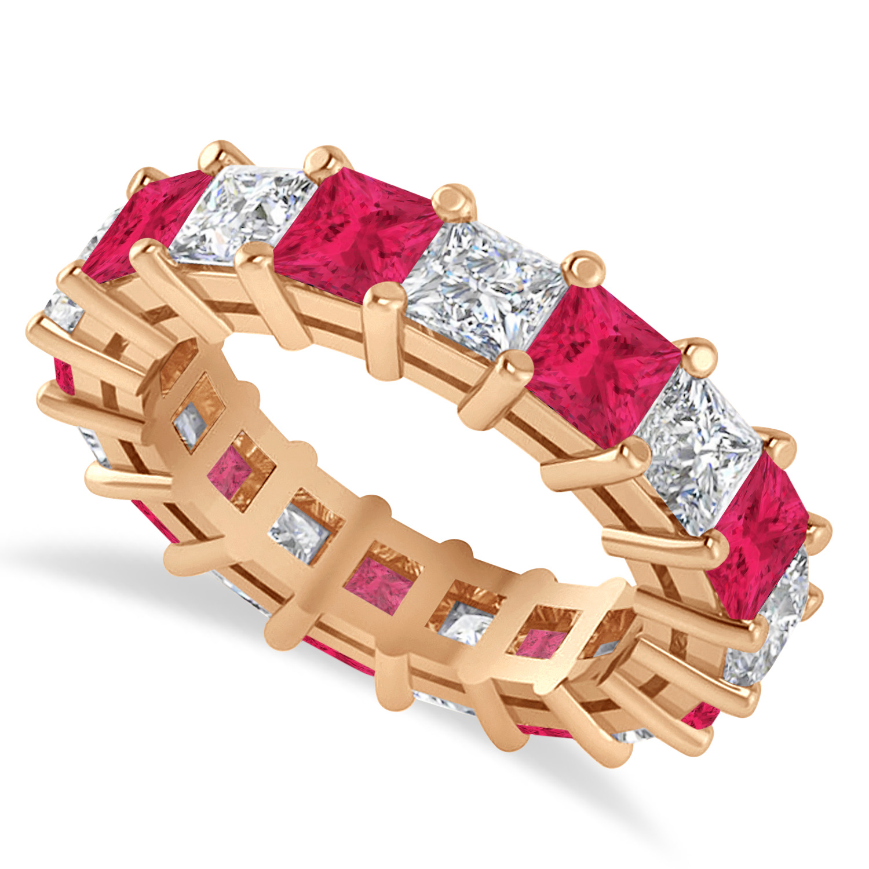 Princess Diamond & Ruby Wedding Band 14k Rose Gold (5.94ct)