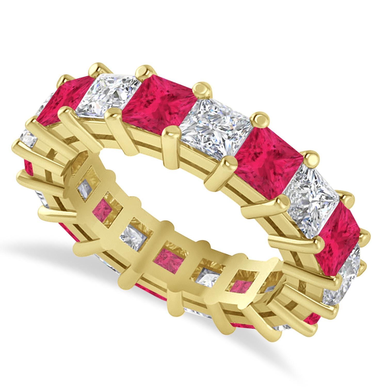 Princess Diamond & Ruby Wedding Band 14k Yellow Gold (5.94ct)