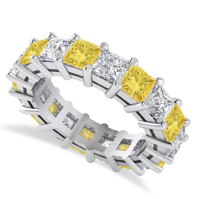 Princess Yellow & White Diamond Wedding Band 14k White Gold (5.58ct)