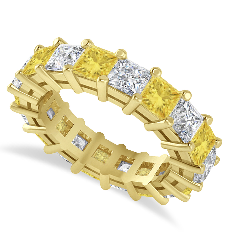 Princess Yellow & White Diamond Wedding Band 14k Yellow Gold (5.58ct)