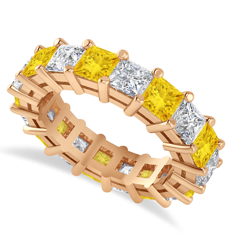 Princess Diamond & Yellow Sapphire Wedding Band 14k Rose Gold (5.94ct)
