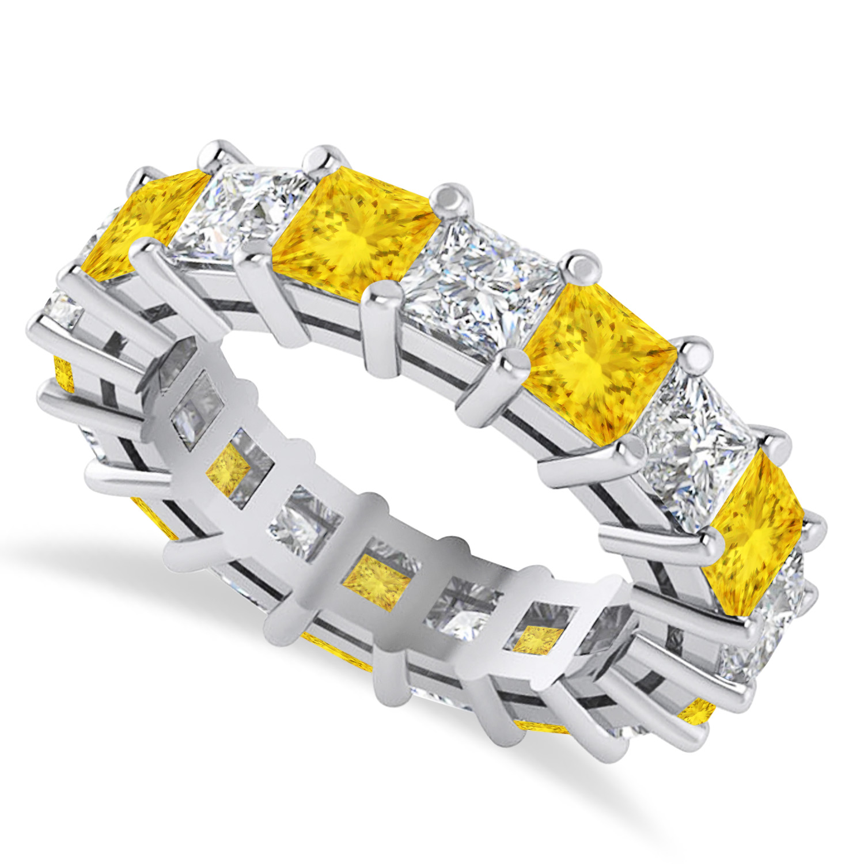 Princess Diamond & Yellow Sapphire Wedding Band 14k White Gold (5.94ct)