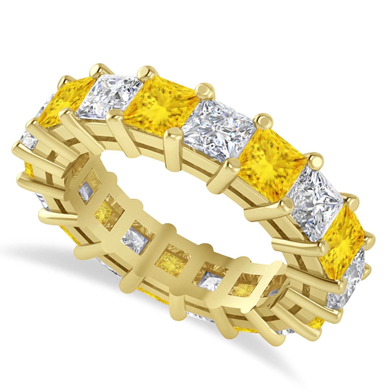 Princess Diamond & Yellow Sapphire Wedding Band 14k Yellow Gold (5.94ct)
