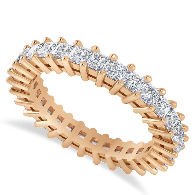 Princess Cut Diamond Eternity Wedding Band 14k Rose Gold (2.32ct)