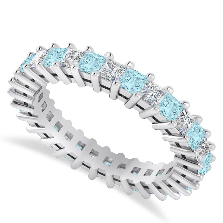 Princess Diamond & Aquamarine Wedding Band 14k White Gold (2.32ct)