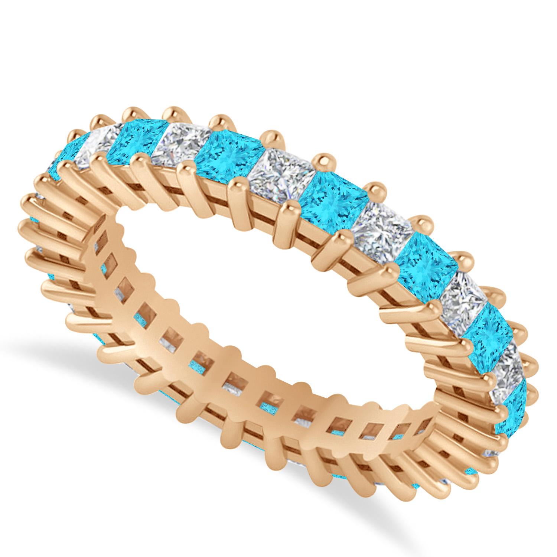 Princess Blue & White Diamond Wedding Band 14k Rose Gold (2.32ct)