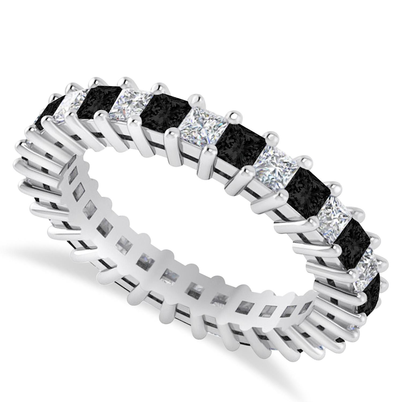 Princess Black & White Diamond Wedding Band 14k White Gold (2.32ct)