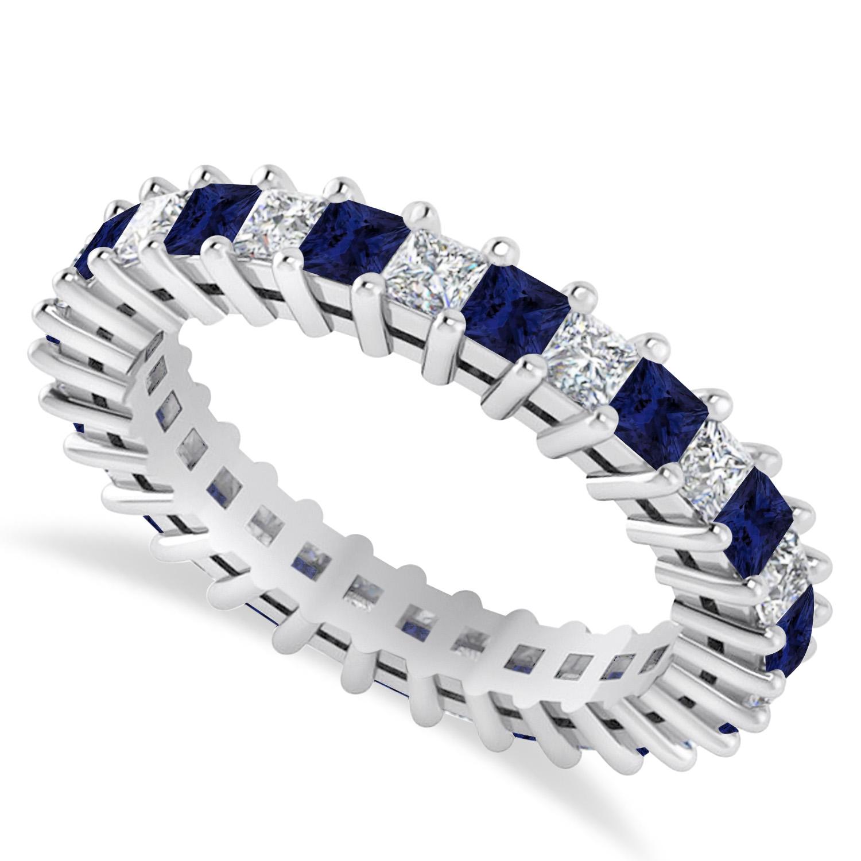 Princess Diamond & Blue Sapphire Wedding Band 14k White Gold (2.32ct)