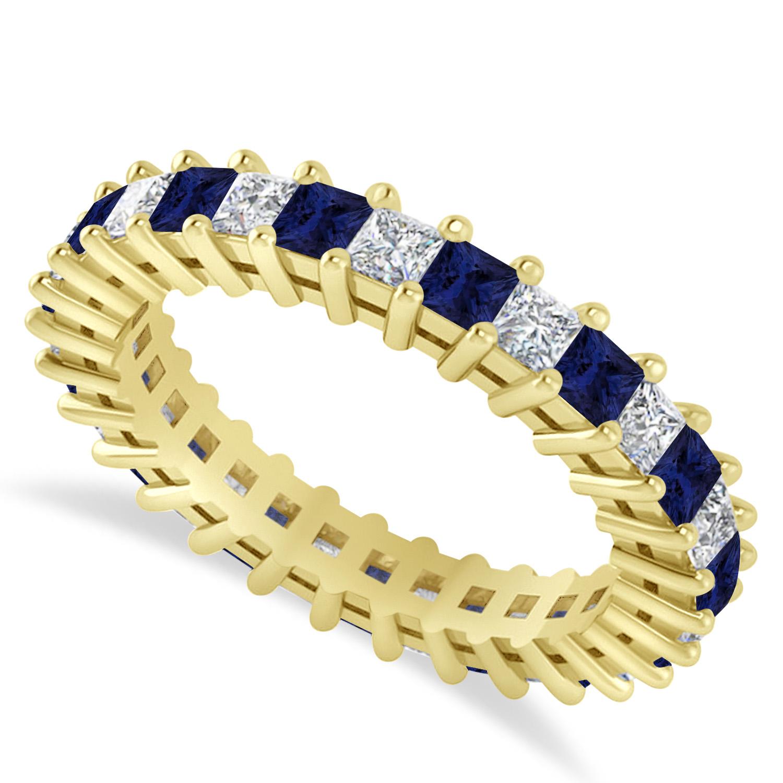 Princess Diamond & Blue Sapphire Wedding Band 14k Yellow Gold (2.32ct)