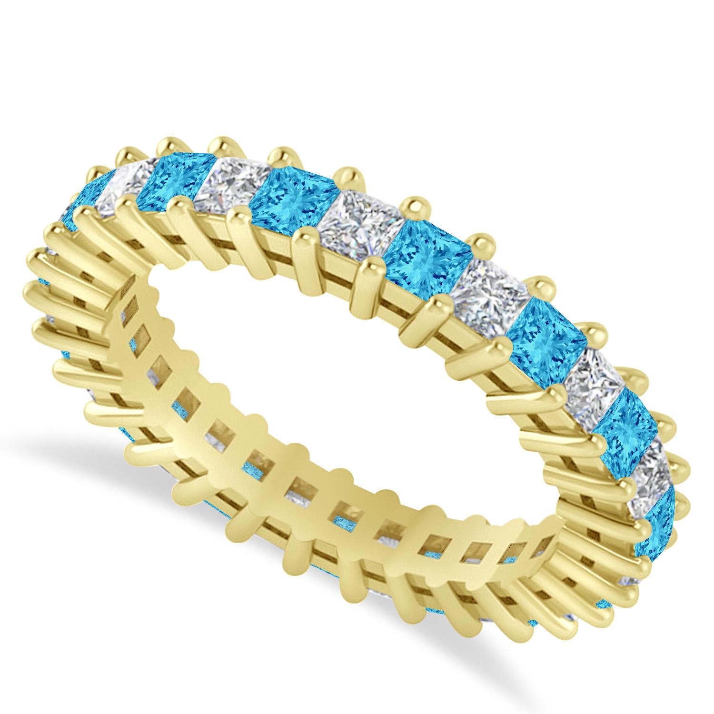 Princess Diamond & Blue Topaz Wedding Band 14k Yellow Gold (2.32ct)