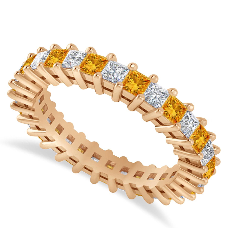 Princess Diamond & Citrine Wedding Band 14k Rose Gold (2.32ct)