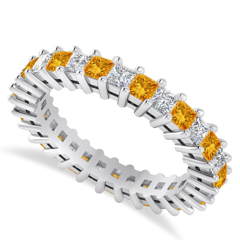 Princess Diamond & Citrine Wedding Band 14k White Gold (2.32ct)