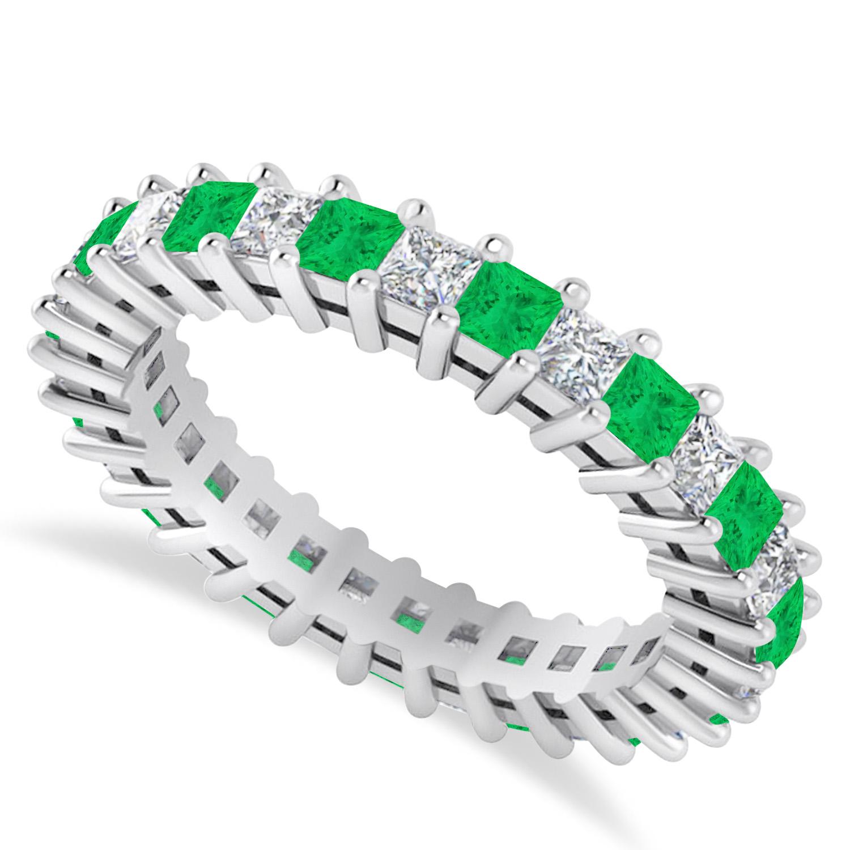 Princess Diamond & Emerald Wedding Band 14k White Gold (2.32ct)