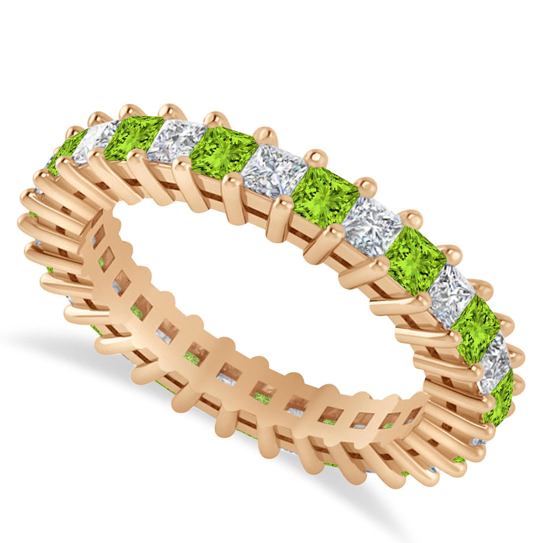 Princess Diamond & Peridot Wedding Band 14k Rose Gold (2.32ct)