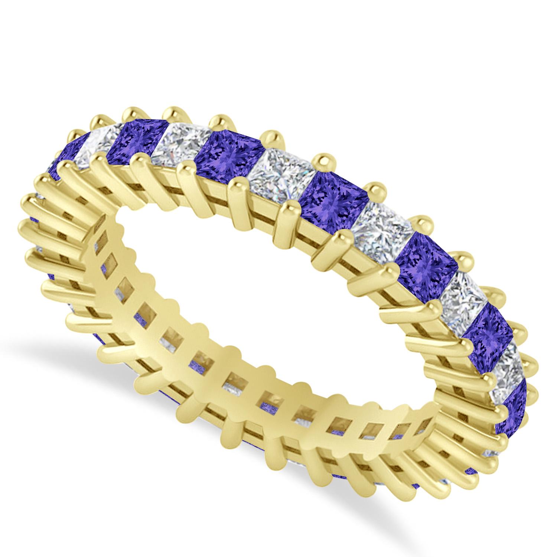 Princess Diamond & Tanzanite Wedding Band 14k Yellow Gold (2.32ct)