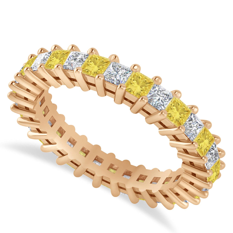 Princess Yellow & White Diamond Wedding Band 14k Rose Gold (2.32ct)