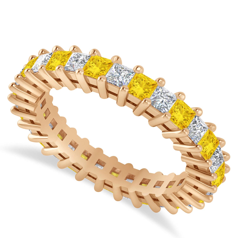 Princess Diamond & Yellow Sapphire Wedding Band 14k Rose Gold (2.32ct)