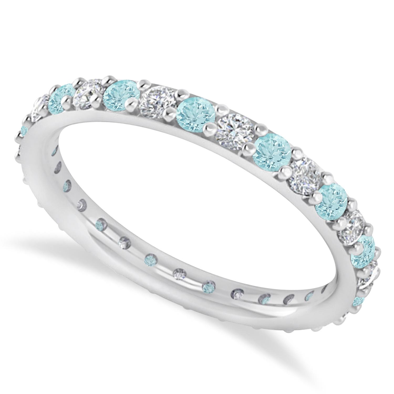 Diamond & Aquamarine Eternity Wedding Band 14k White Gold (0.87ct)