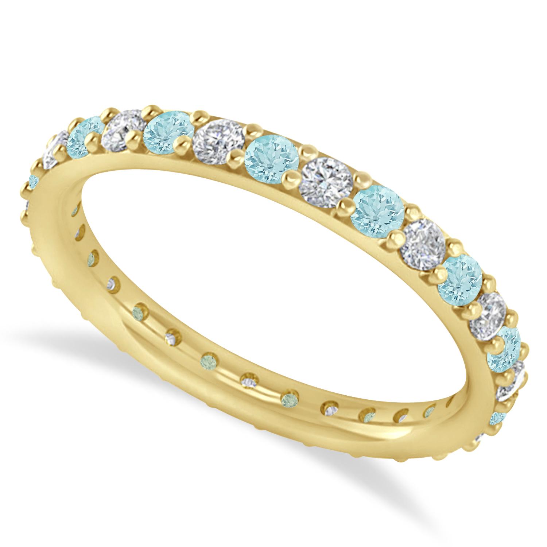 Diamond & Aquamarine Eternity Wedding Band 14k Yellow Gold (0.87ct)