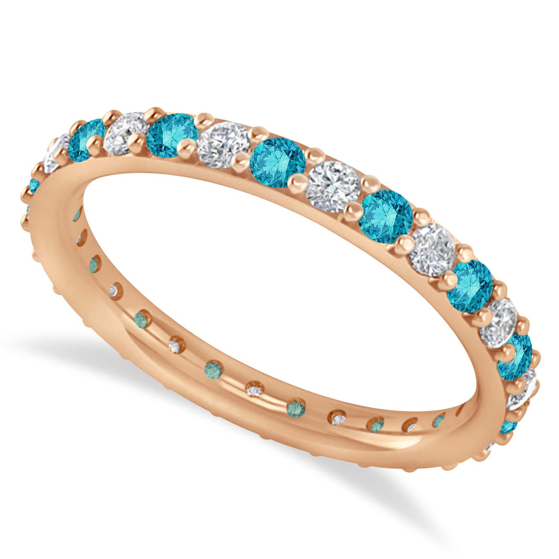 Blue & White Diamond Eternity Wedding Band 14k Rose Gold (0.87ct)