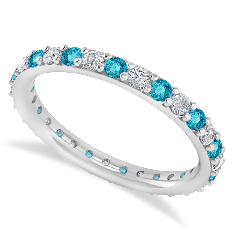 Blue & White Diamond Eternity Wedding Band 14k White Gold (0.87ct)