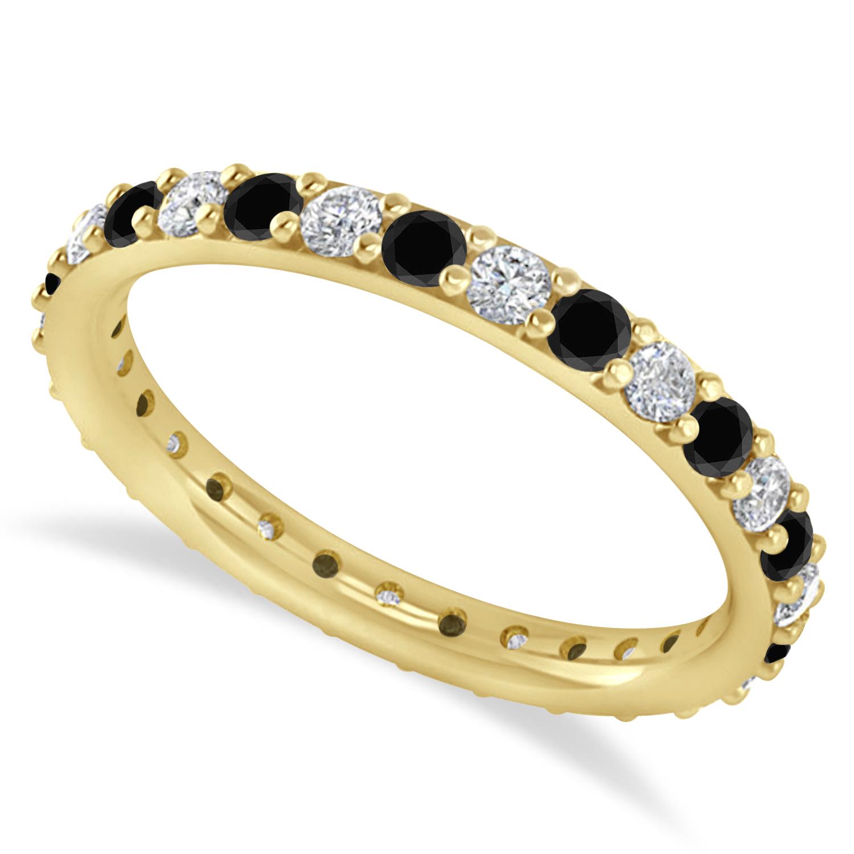 Black & White Diamond Eternity Wedding Band 14k Yellow Gold (0.87ct)
