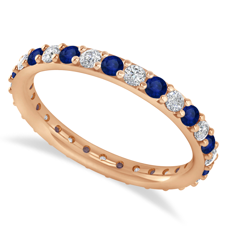 Diamond & Blue Sapphire Eternity Wedding Band 14k Rose Gold (0.87ct)