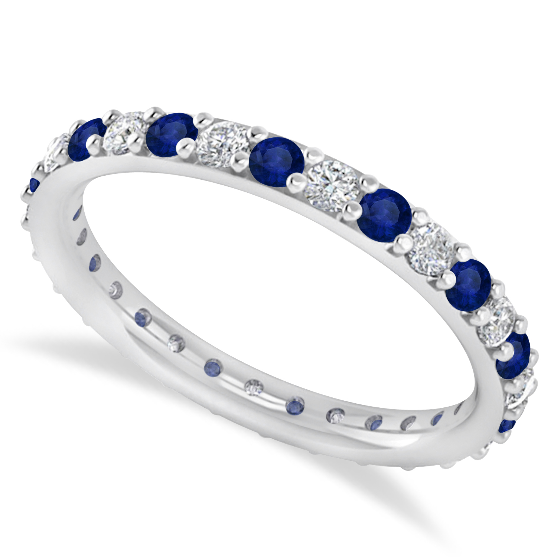 Diamond & Blue Sapphire Eternity Wedding Band 14k White Gold (0.87ct)