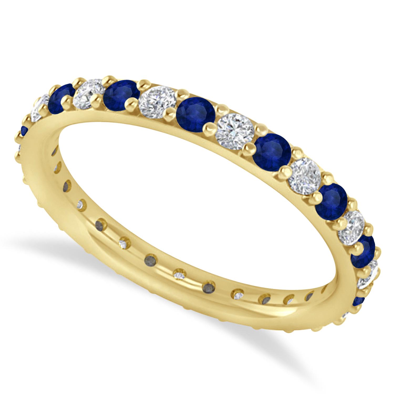 Diamond & Blue Sapphire Eternity Wedding Band 14k Yellow Gold (0.87ct)