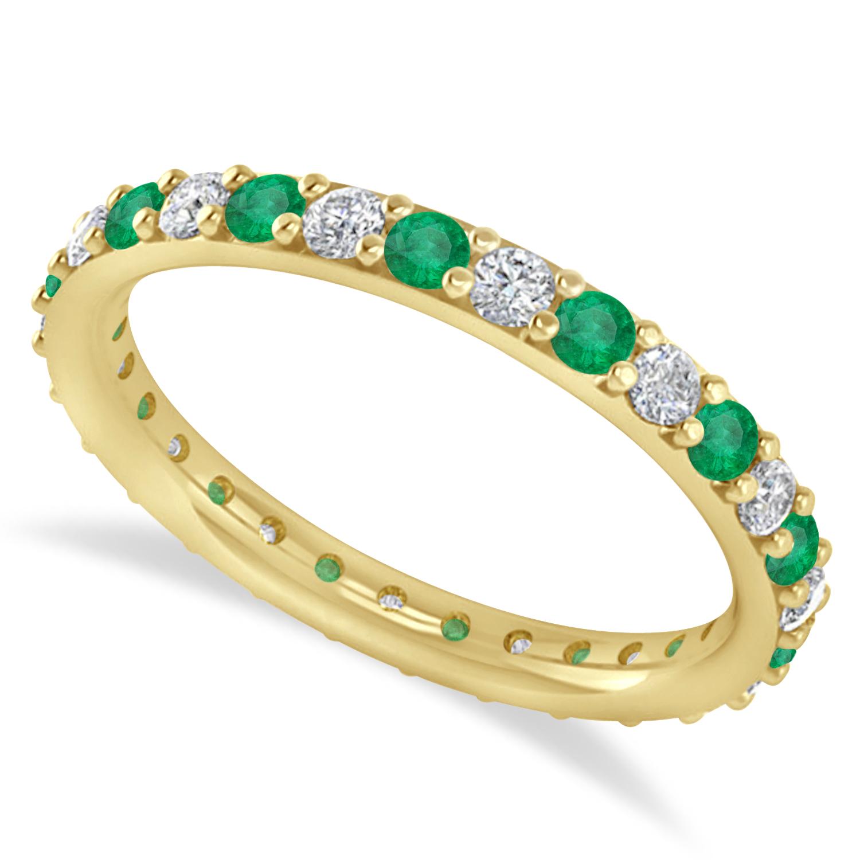 Diamond & Emerald Eternity Wedding Band 14k Yellow Gold (0.87ct)