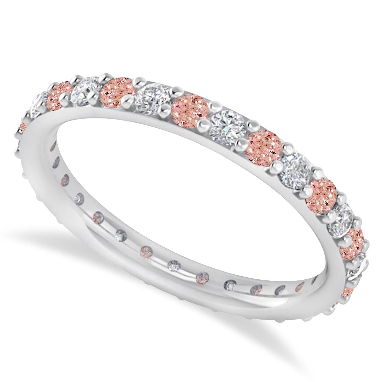 Diamond & Morganite Eternity Wedding Band 14k White Gold (0.87ct)