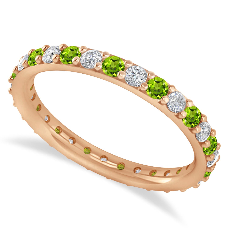 Diamond & Peridot Eternity Wedding Band 14k Rose Gold (0.87ct)