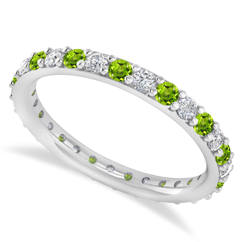 Diamond & Peridot Eternity Wedding Band 14k White Gold (0.87ct)