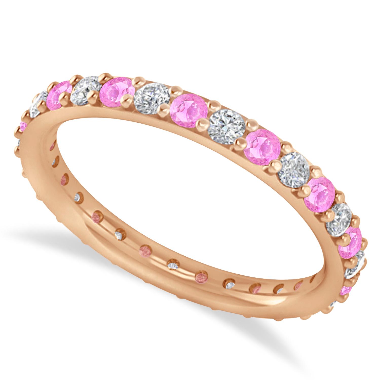Diamond & Pink Sapphire Eternity Wedding Band 14k Rose Gold (0.87ct)