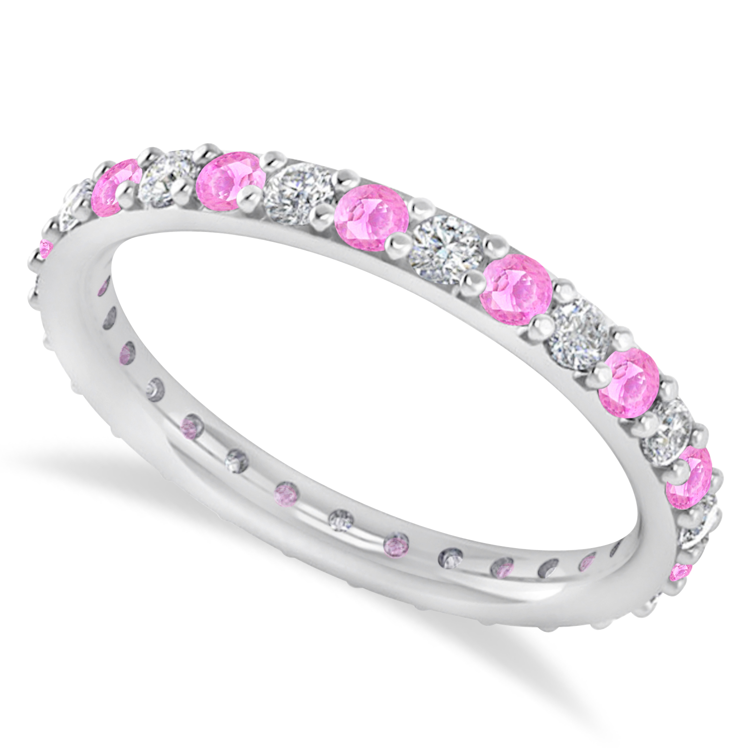diamond amp pink sapphire eternity wedding band 14k white