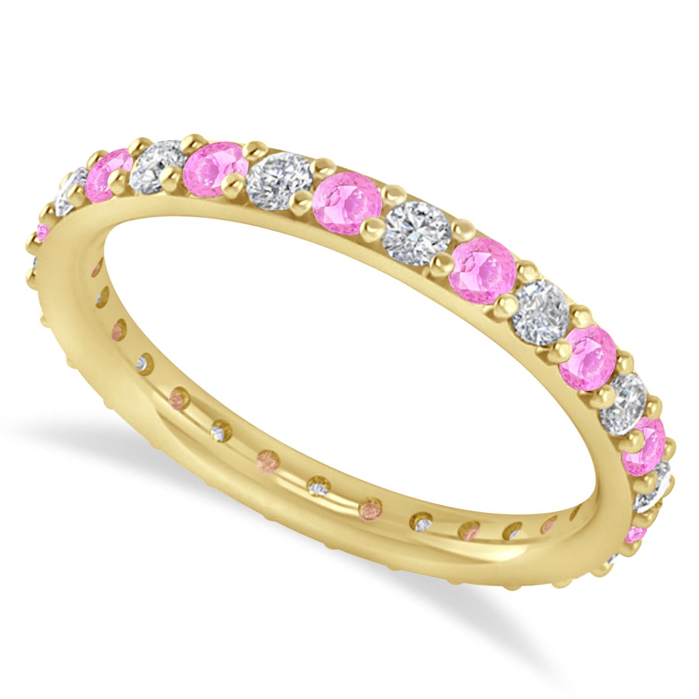 Diamond & Pink Sapphire Eternity Wedding Band 14k Yellow Gold (0.87ct)