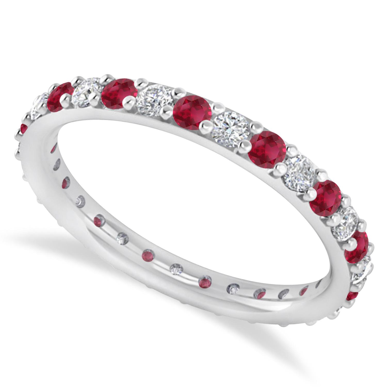 Diamond & Ruby Eternity Wedding Band 14k White Gold (0.87ct)