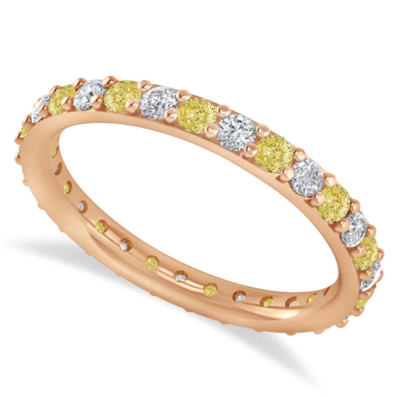 Yellow & White Diamond Eternity Wedding Band 14k Rose Gold (0.87ct)