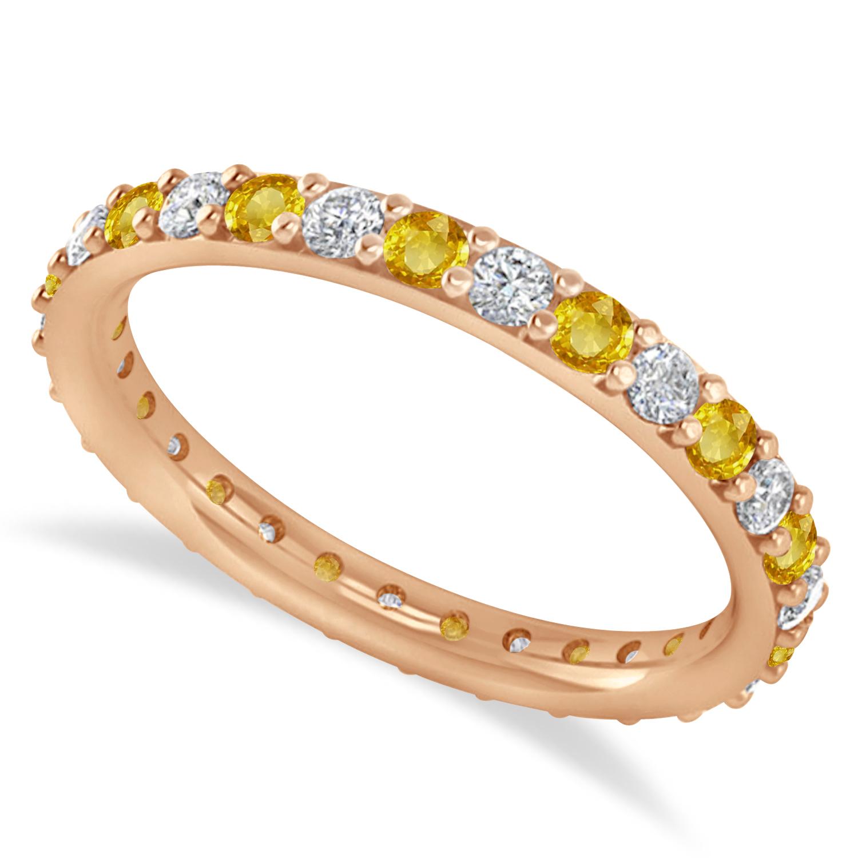 Diamond & Yellow Sapphire Eternity Wedding Band 14k Rose Gold (0.87ct)