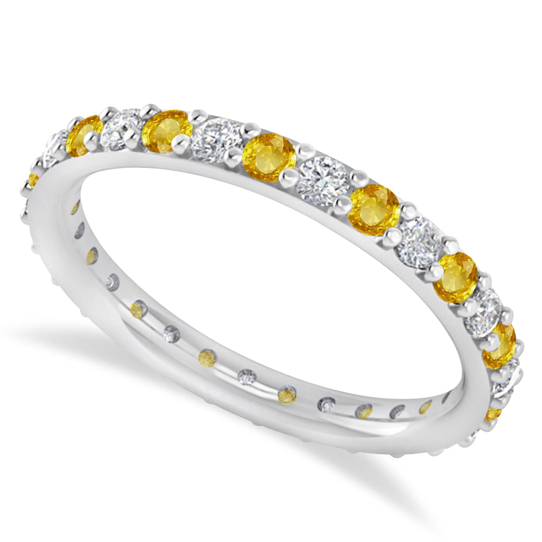 Diamond & Yellow Sapphire Eternity Wedding Band 14k White Gold (0.87ct)