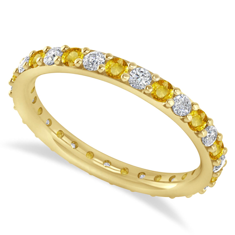 Diamond & Yellow Sapphire Eternity Wedding Band 14k Yellow Gold (0.87ct)