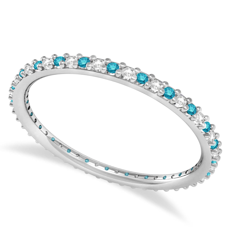 Petite Blue & White Diamond Eternity Wedding Band 14k White Gold (0.25ct)