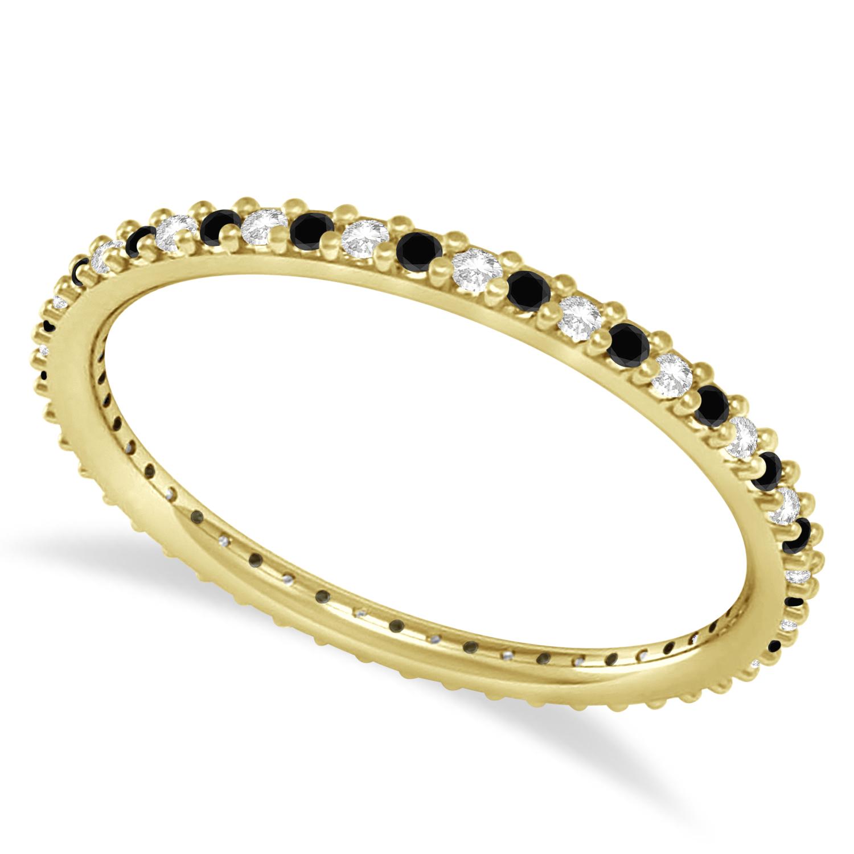 Petite Black & White Diamond Eternity Wedding Band 14k Yellow Gold (0.25ct)
