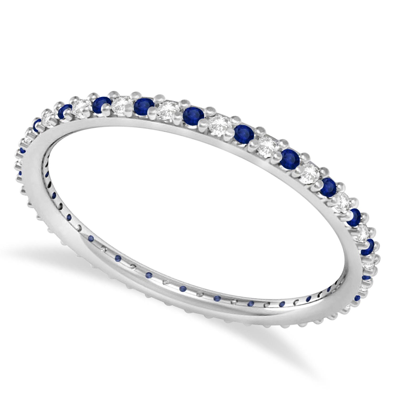 Petite Diamond & Blue Sapphire Eternity Wedding Band 14k White Gold (0.25ct)